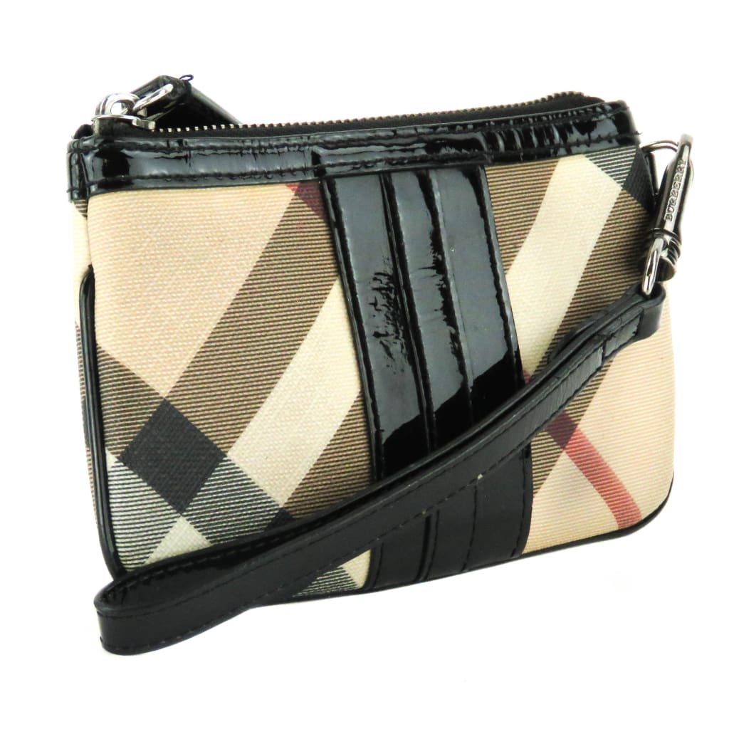 Burberry Beige Nova Check Coated Canvas Zip Wristlet Bag - Wristlet
