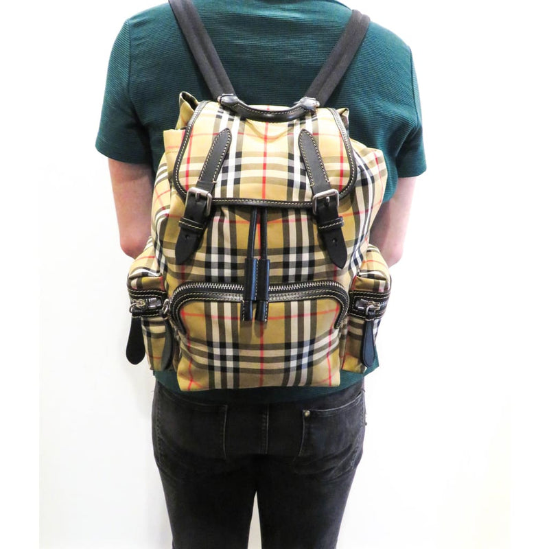 Burberry Beige Vintage Check Canvas Sailing Rucksack Backpack - Backpacks