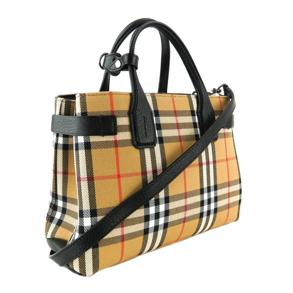 Burberry Beige Vintage Check Canvas The Small Banner Tote Bag - Totes