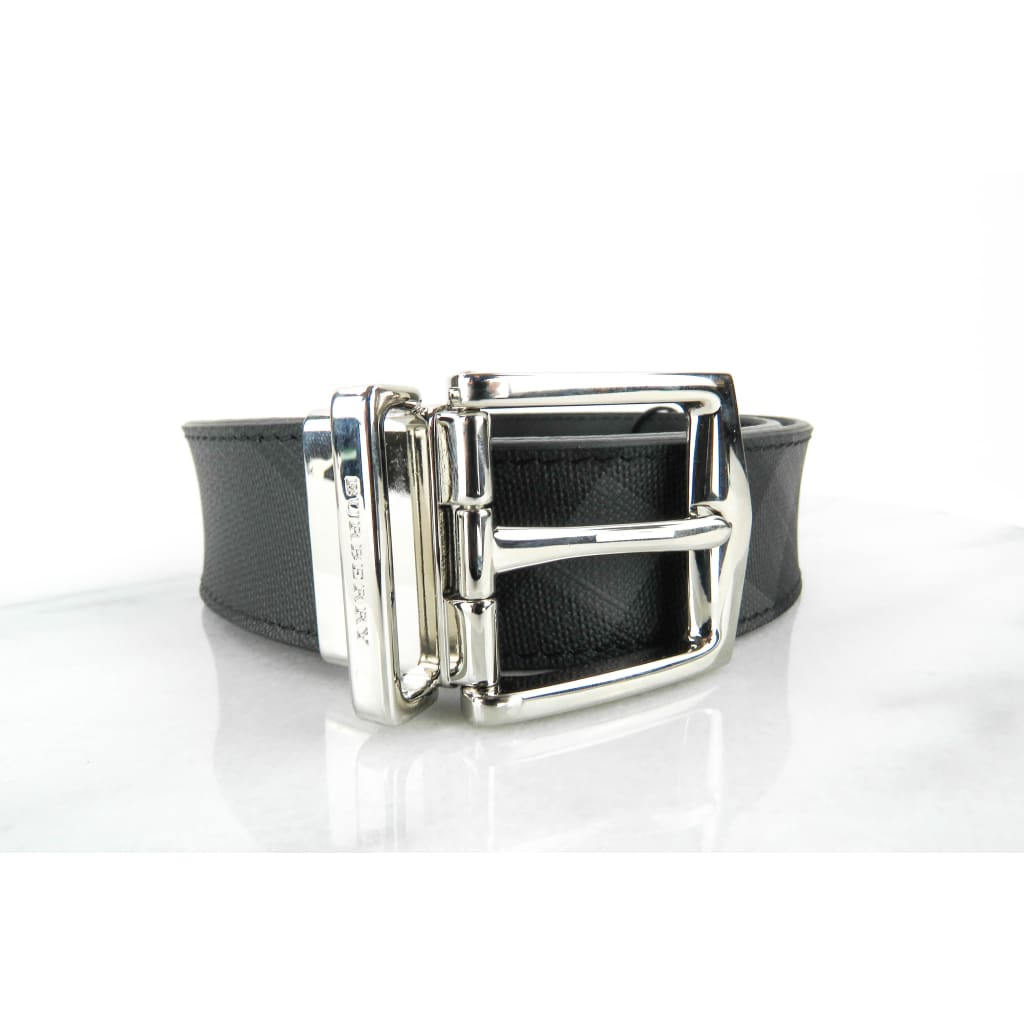 Burberry Black Canvas London Check Collection James Reversible Pin Belt - Belts