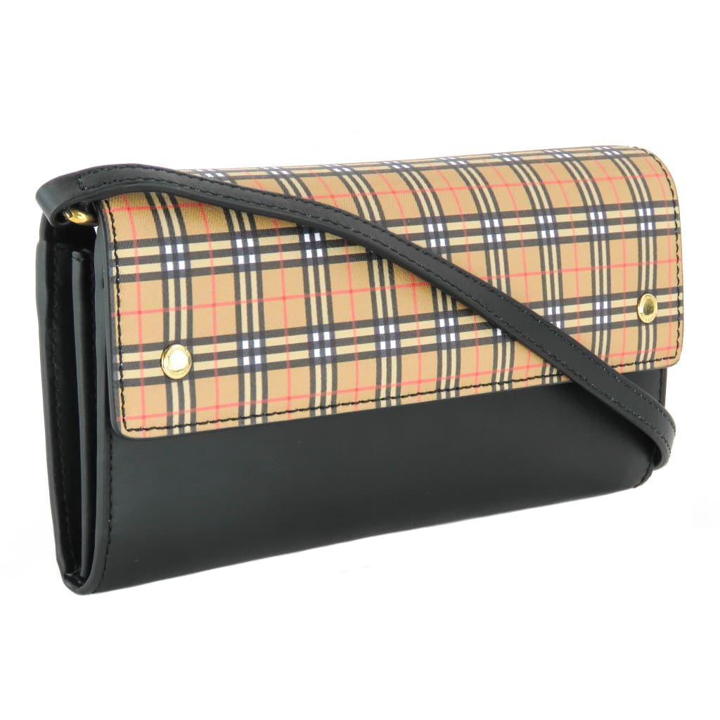 Burberry Black Leather Antique Yellow Small Scale Check Wallet Crossbody Bag - Crossbodies