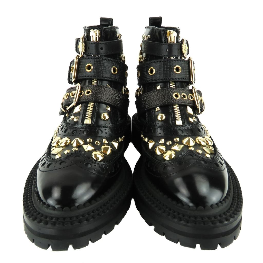 Burberry Black Leather English Icons Everdon Studded Brogue Ankle Boots - Boots/Rain Boots