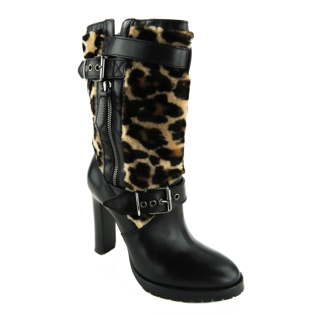 Burberry Black Leather Hareheels Animal Print Booties - Bootie