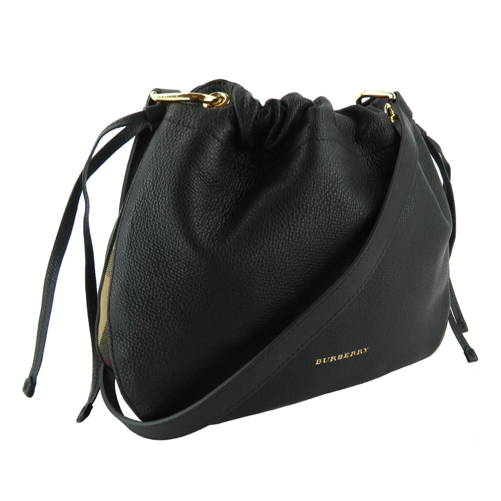 Burberry Black Leather House Check Bingley Derby Crossbody Bag - Crossbodies