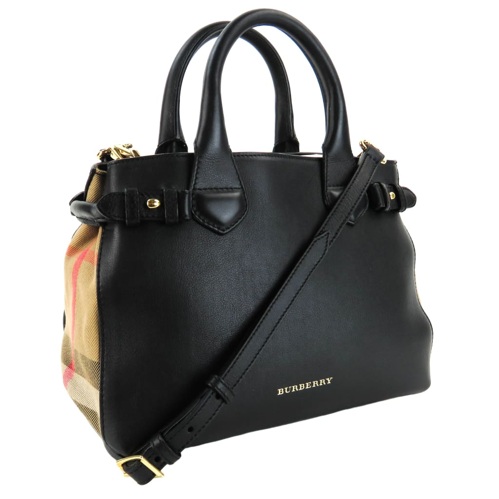 Burberry Black Leather House Check Canvas Small Banner Satchel Bag - Totes