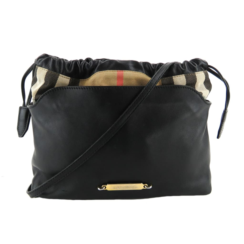 Burberry Black Leather Little Crush Check Crossbody Bag - Crossbodies
