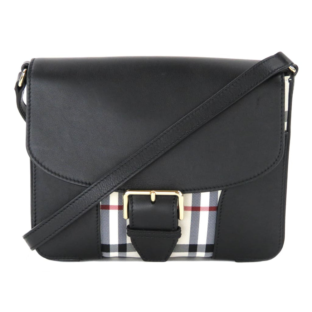 f4f5a94a067d Burberry Black Leather Small Horseferry Check Crossbody Bag - Crossbodies. 1