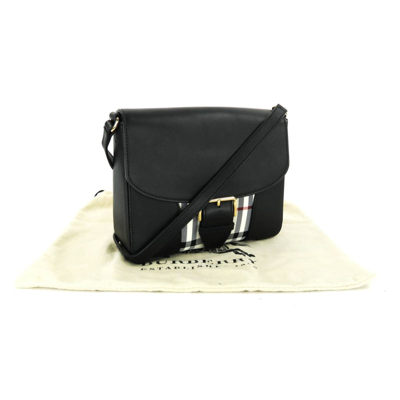 Burberry Black Leather Small Horseferry Check Crossbody Bag - Crossbodies