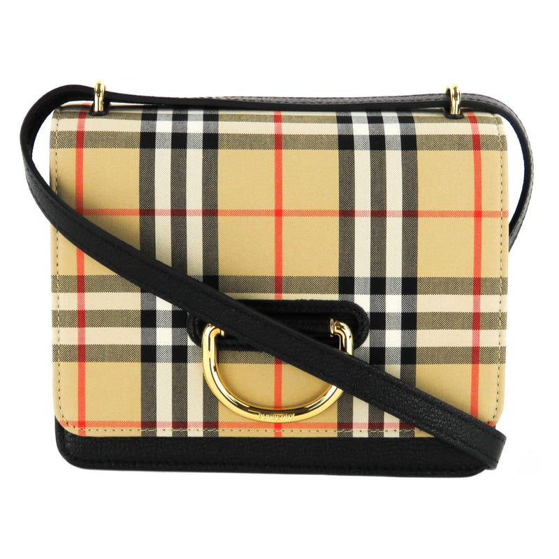 Burberry Black Leather The Small Vintage Check D-Ring Crossbody Bag - Crossbodies