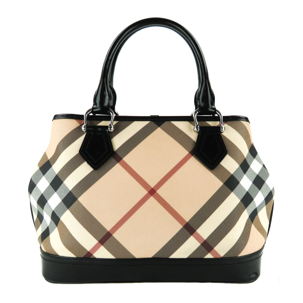 Burberry Black Patent Leather Supernova Check Coated Canvas Tote Bag - Totes