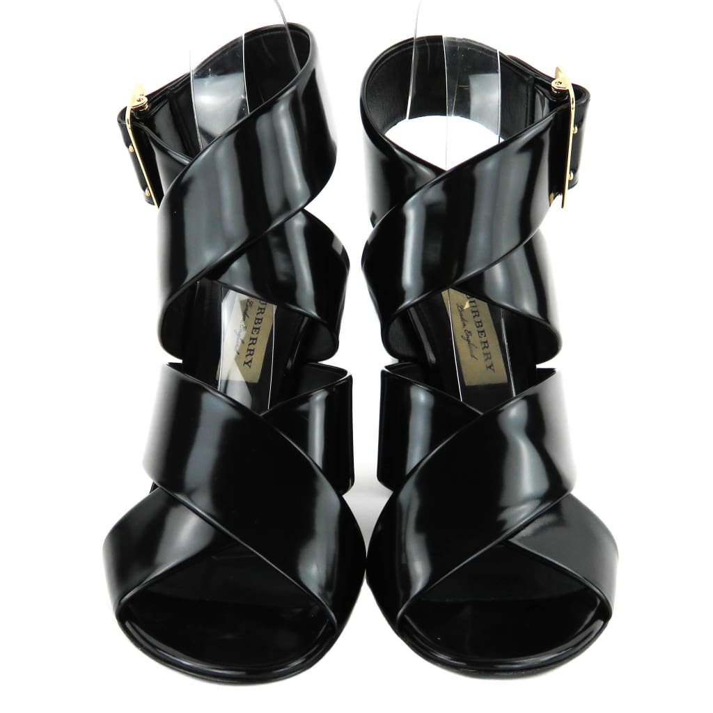 Burberry Black Shiny Leather Trench Buckle Blaine Sandal Heels - Sandals