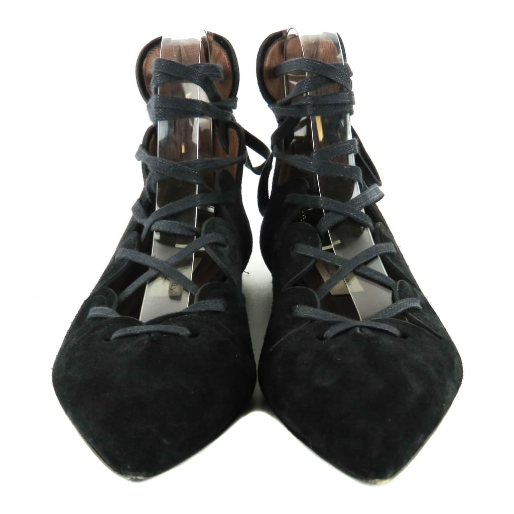 Burberry Black Suede Scallops Hiles Lace Up Flats - Flats