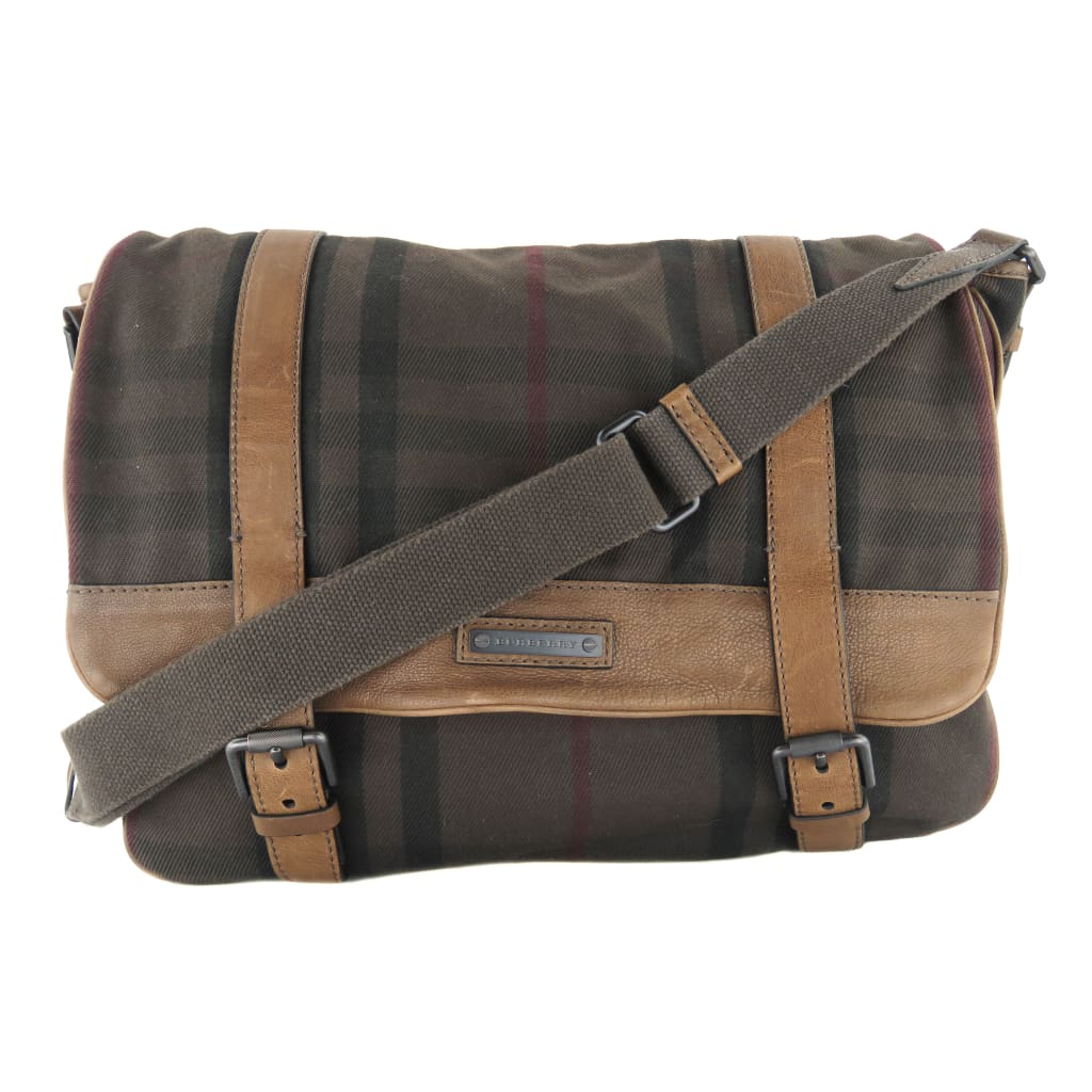 Burberry Brown Check Canvas Leather Messenger Bag - Messengers/Diaper Bags