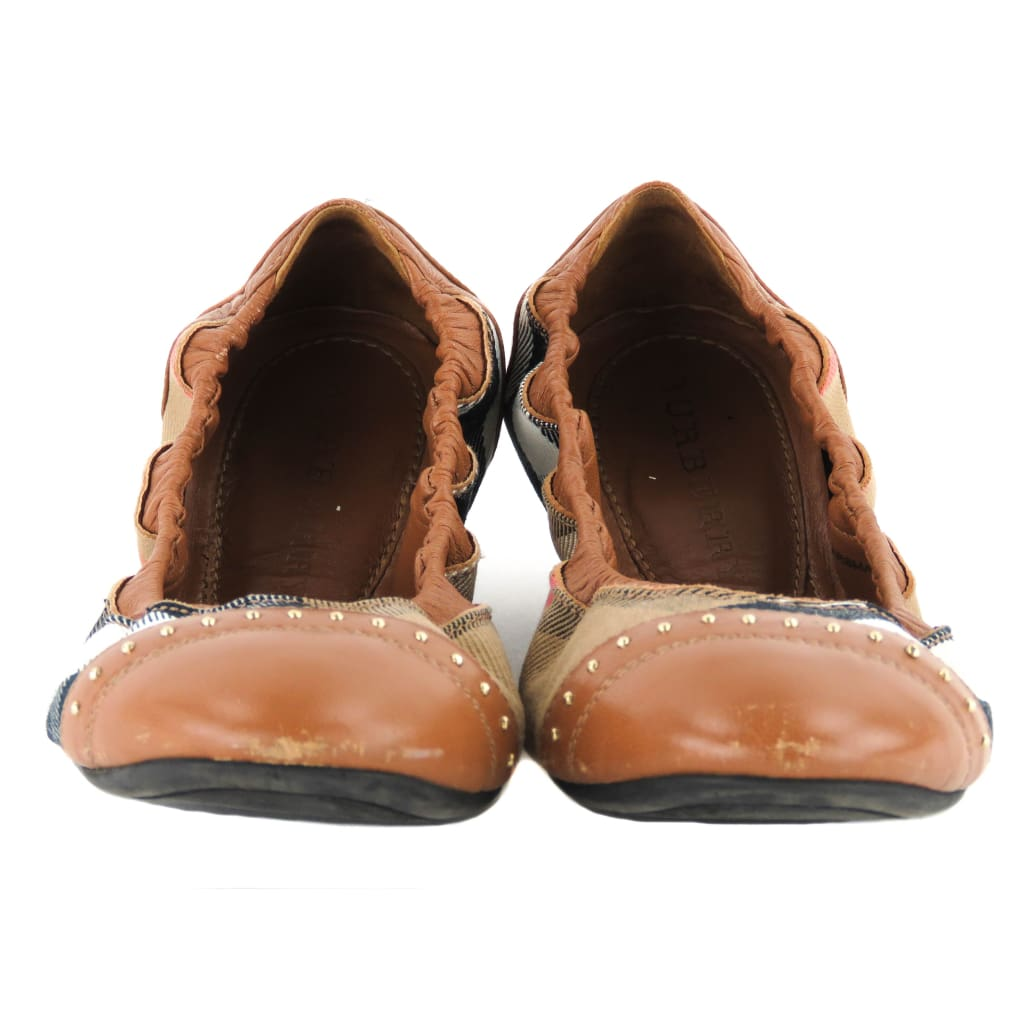 Burberry Brown Leather House Check Bridle Southwark Studded Ballerina Flats - Flats