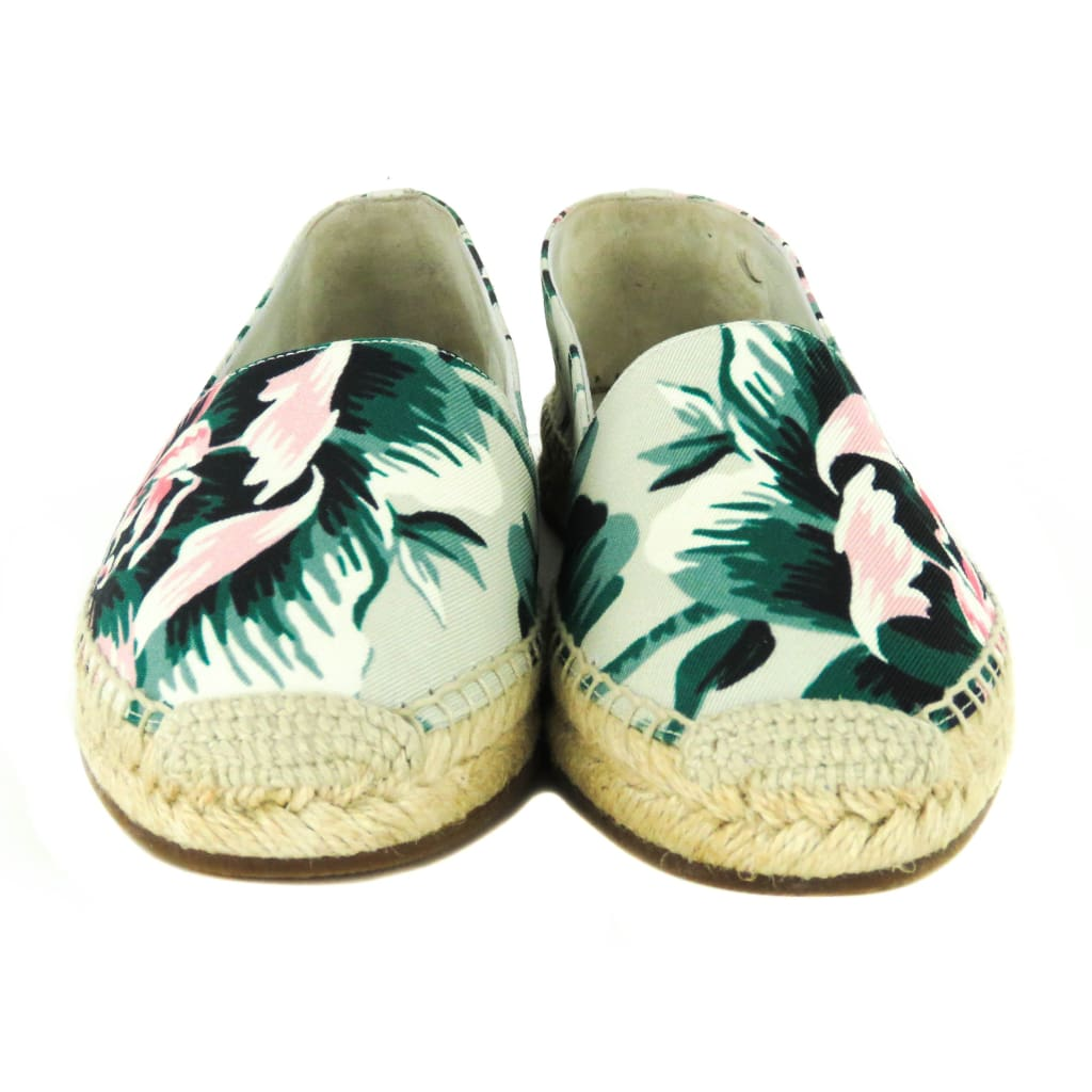 Burberry Green Canvas Floral Hodgeson Espadrille Flats - Flats