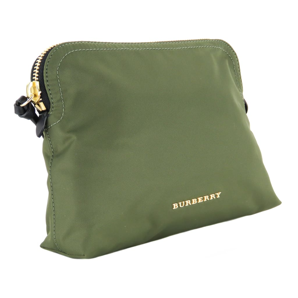 Burberry Olive Green Nylon Small Zip Pouch Clutch Bag - Clutches