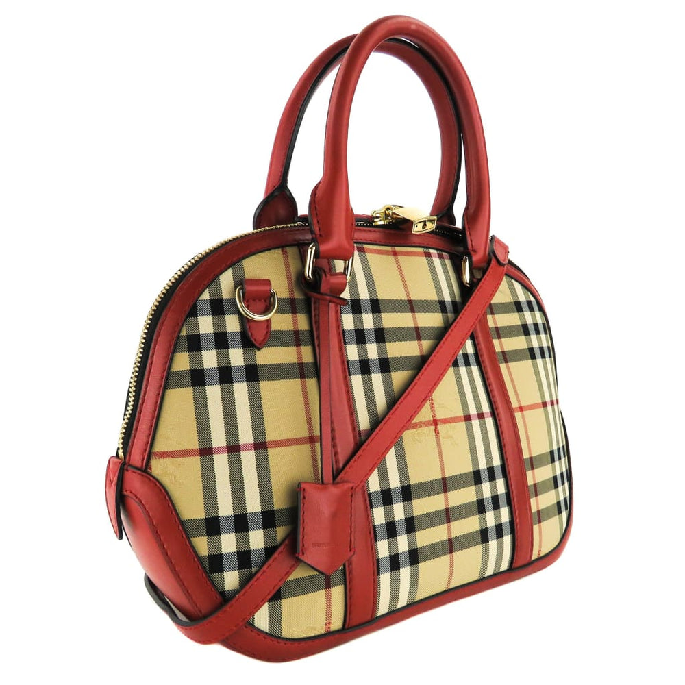 5fd1d044642a Burberry Red Horseferry Check Canvas Orchard Bowling Satchel Bag ...