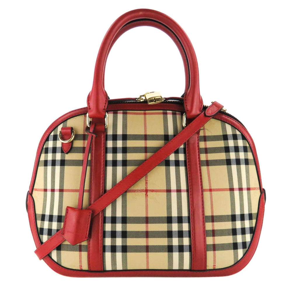 bb570cdc192e ITEM DETAILS. Burberry Red Horseferry Check Canvas Orchard Bowling Satchel  Bag
