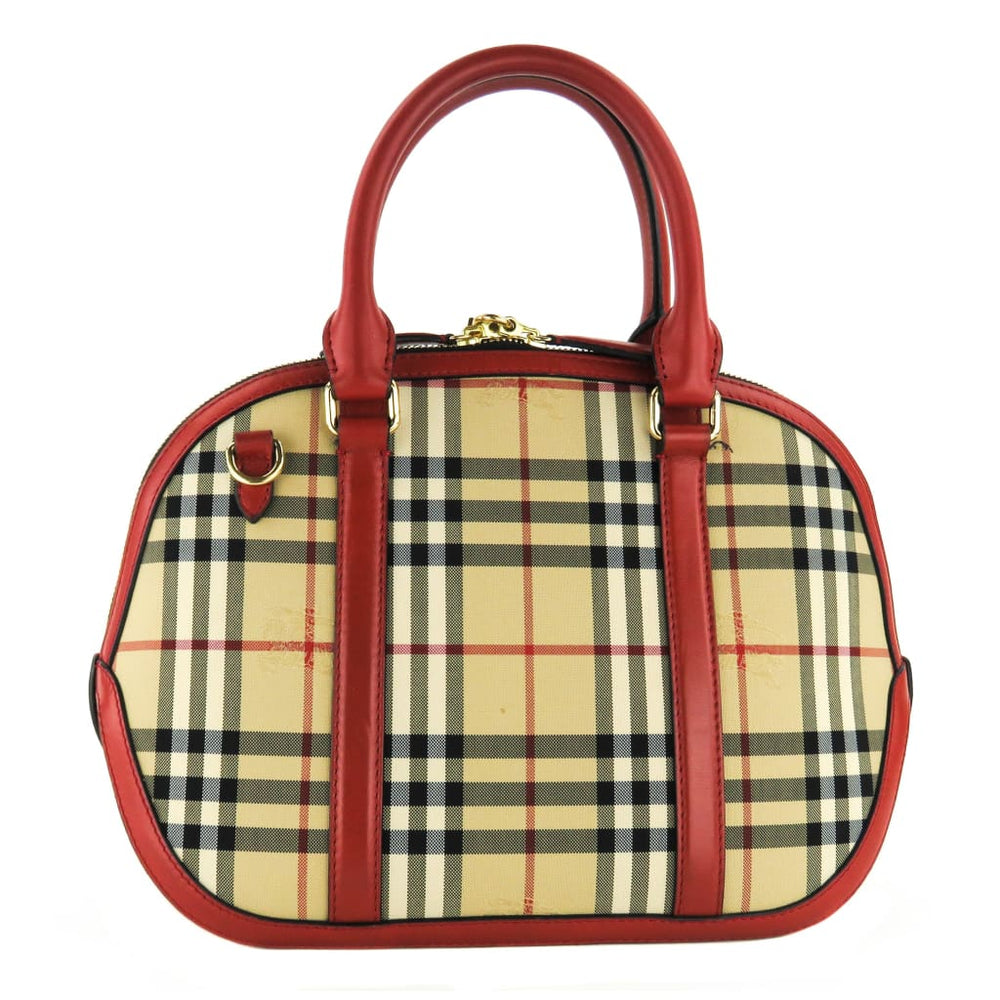 0cf38664aedd Burberry Red Horseferry Check Canvas Orchard Bowling Satchel Bag – Mosh  Posh Designer Consignment Boutique