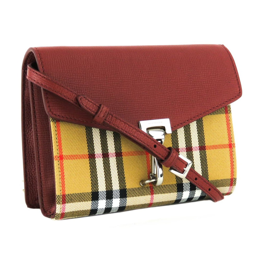 999177a37049 Burberry Red House Check Leather Macken Crossbody Bag - Crossbodies. 1