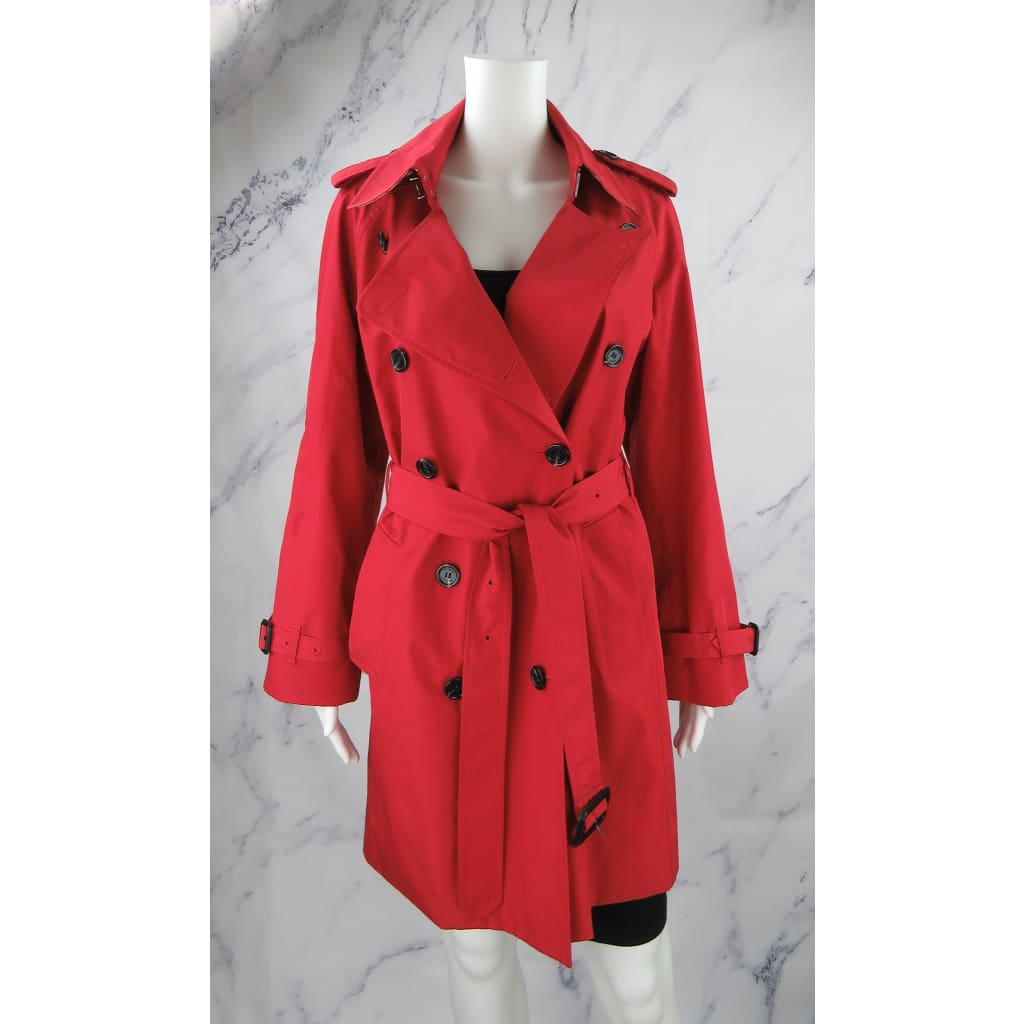 Burberry Red Polyester Double Breasted Large Trench Coat - Coat