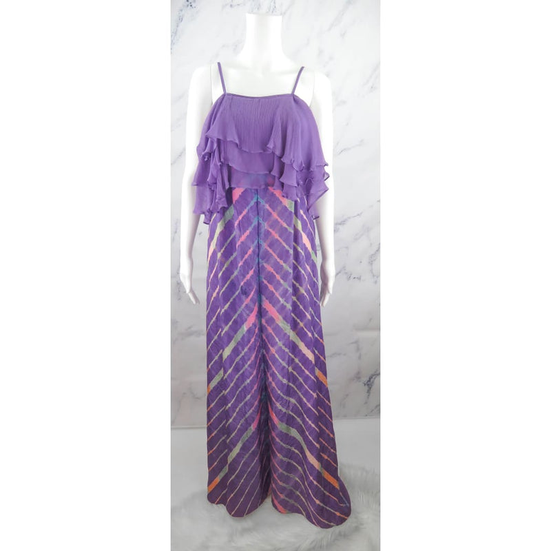 Calypso Purple Silk Printed X-Small Maxi Dress - Maxi Dress