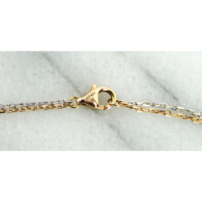 Cartier 18K White and Rose Gold Diamond Baby Love Necklace - Necklace