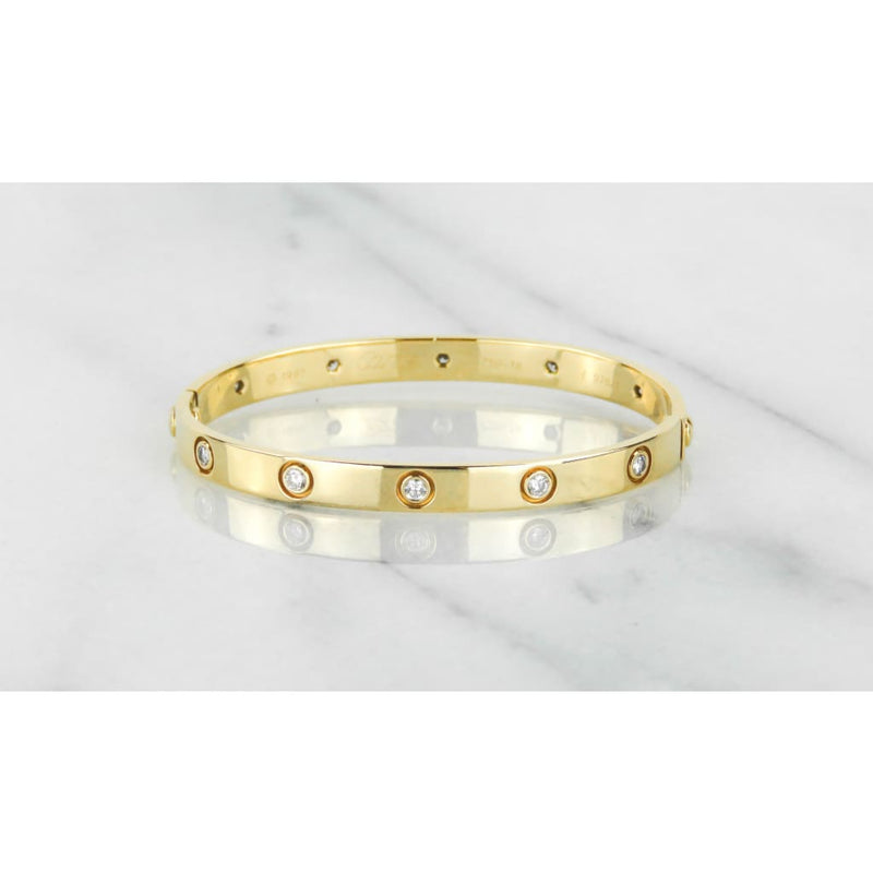 Cartier 18K Yellow Gold 10 Diamond Love Bracelet - Bracelet