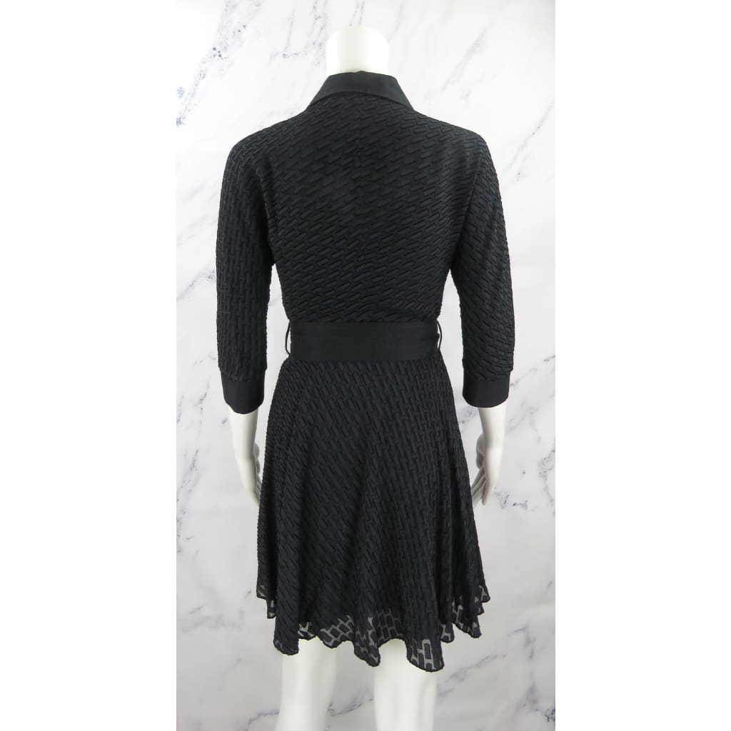 Catherine Malandrino Black Rayon and Silk Size Button Down Crop Sleeve Dress - Dresses