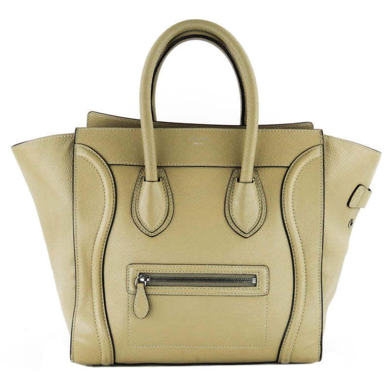 Celine Beige Drummed Calfskin Leather Micro Luggage Tote Bag - Totes