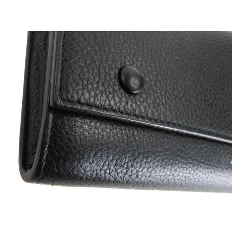 Celine Black Drummed Leather Large Flap Multifunction Wallet - Wallets