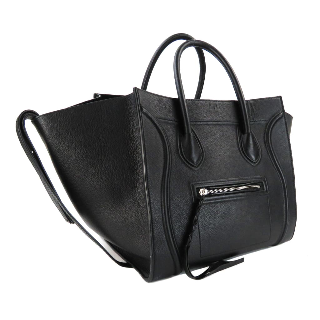 Celine Black Pebbled Leather Medium Phantom Tote Bag - Totes