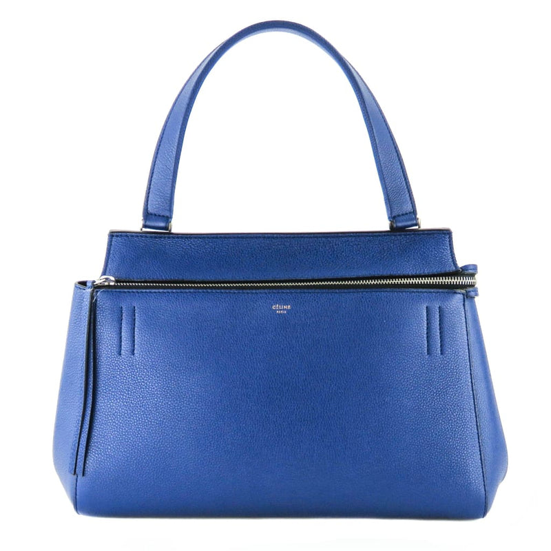 Celine Blue Drummed Leather Small Edge Indigo Shoulder Bag - Shoulder Bags
