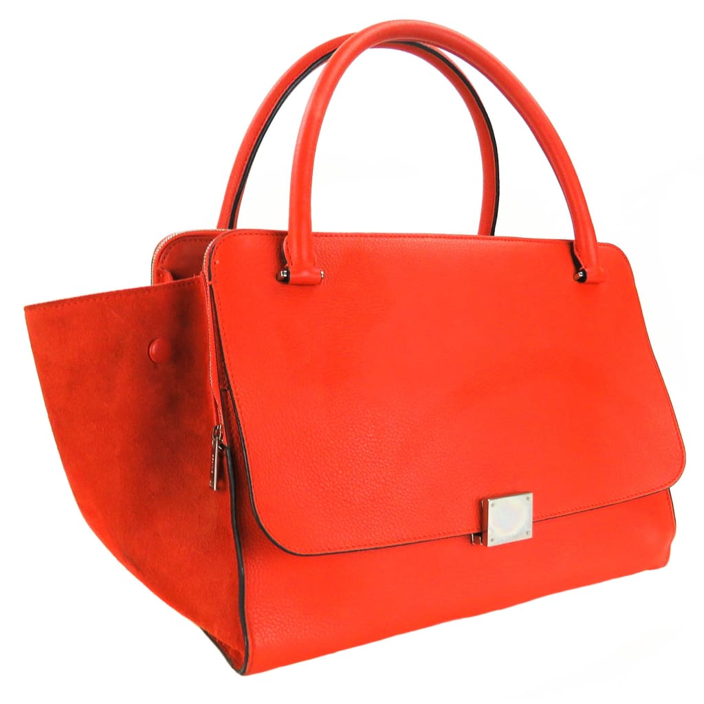 Celine Orange Leather Suede Medium Trapeze Satchel Bag - Satchels