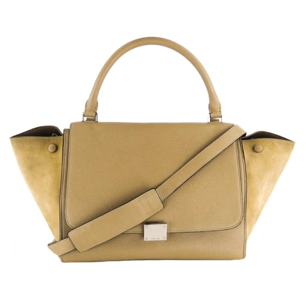 Celine Taupe Leather Trapeze Medium Satchel Bag - Satchels
