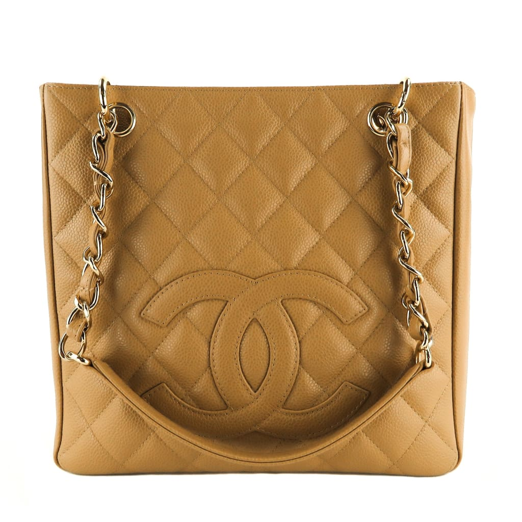 Chanel Beige Caviar Leather Petit Shopping Tote Bag - Totes