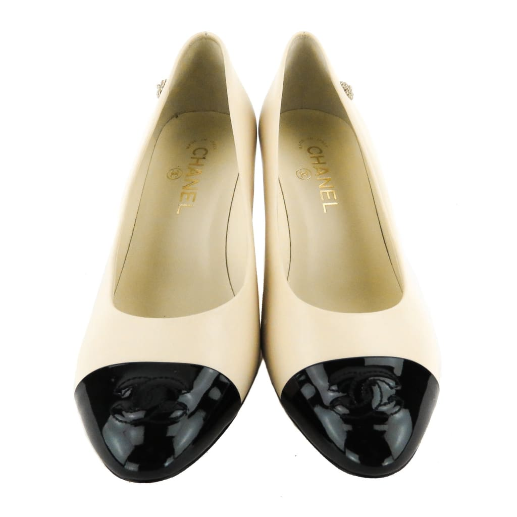 Chanel Beige Leather Black Patent Cap Toe Pumps - Heels