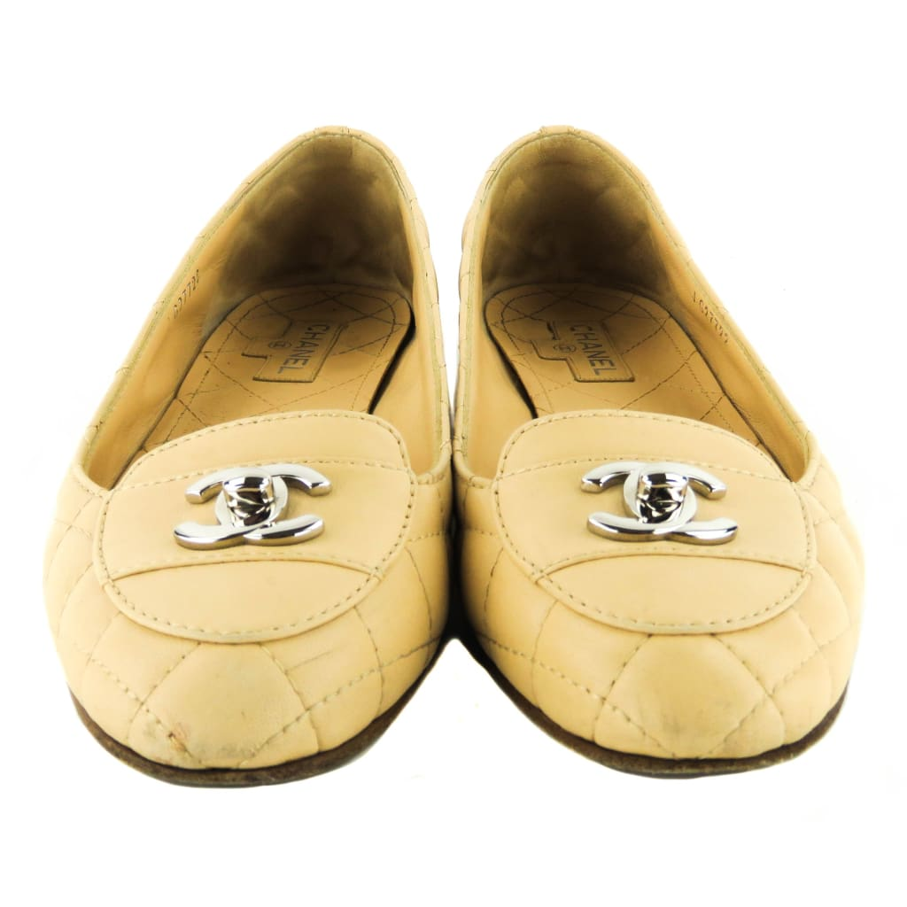 Chanel Beige Leather CC Turnlock Loafer Flats - Loafers