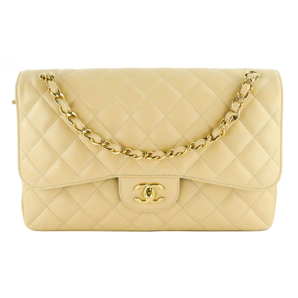 5bbaed0bb33f Chanel Beige Quilted Caviar Leather Jumbo Double Flap Shoulder Bag ...