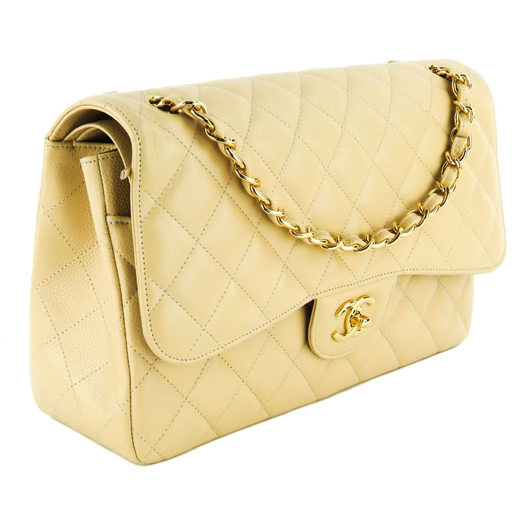Chanel Beige Quilted Caviar Leather Jumbo Double Flap Shoulder Bag - Shoulder Bags