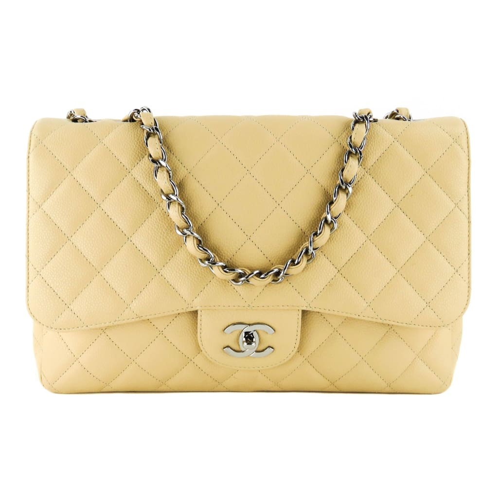 Chanel Beige Quilted Caviar Leather Jumbo Single Flap Shoulder Bag - Shoulder Bags