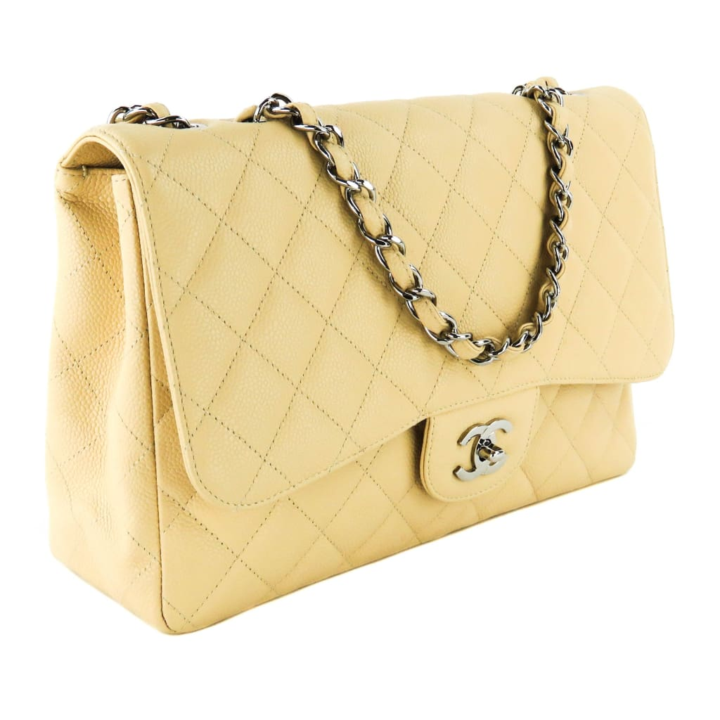 4e6148614df6 Chanel Beige Quilted Caviar Leather Jumbo Single Flap Shoulder Bag - Shoulder  Bags