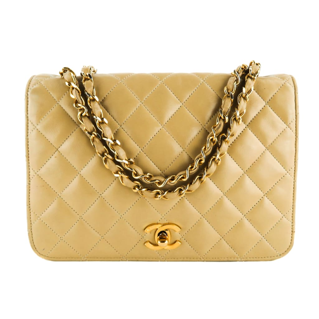 Chanel Beige Quilted Leather Vintage Full Flap Shoulder Bag - Shoulder Bags