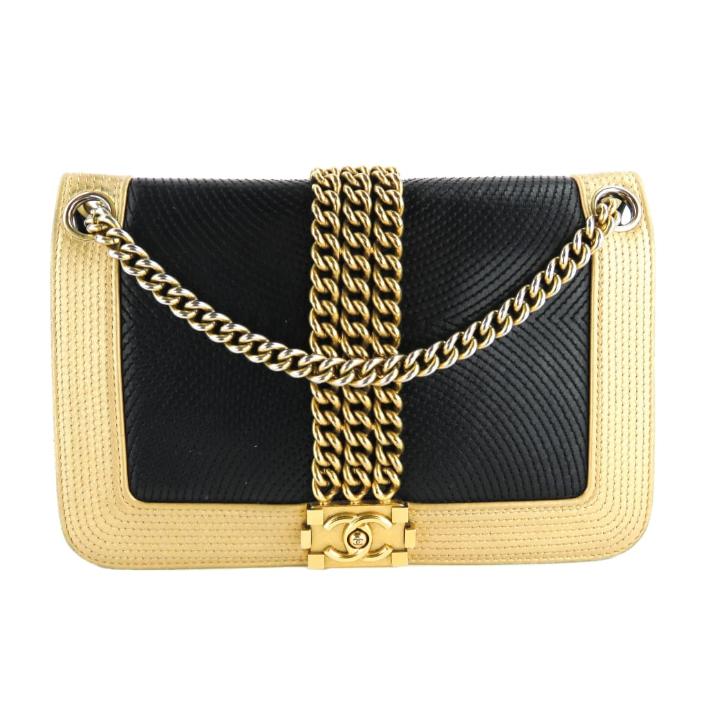 Chanel Black and Gold Leather Chain Boy Shoulder Bag - Shoulder Bags