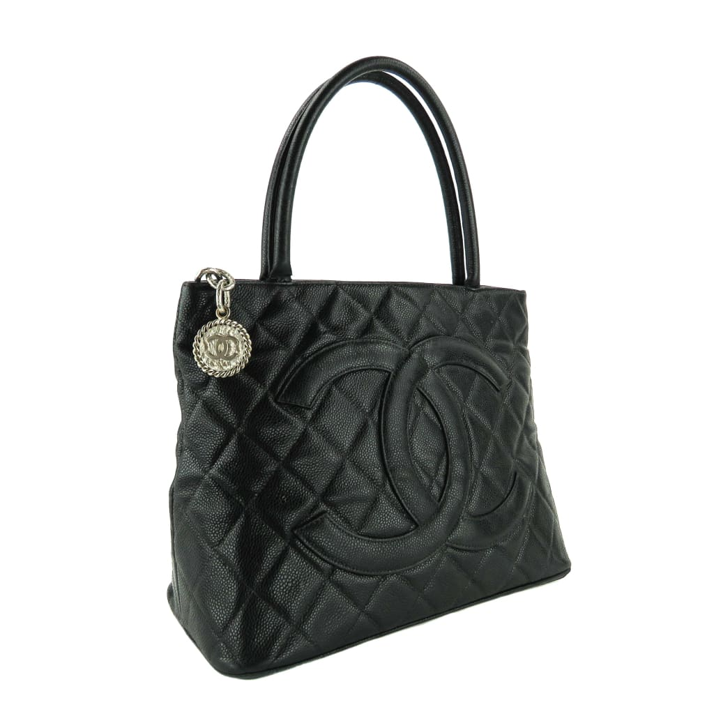 Chanel Black Caviar Leather Medallion Tote Bag - Totes