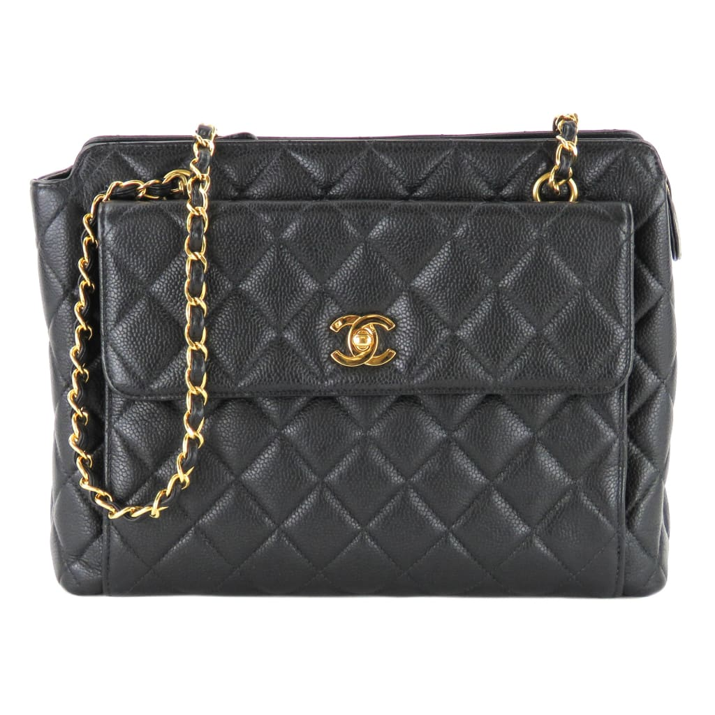 Chanel Black Caviar Leather Vintage Front Pocket Shoulder Bag - Shoulder Bags