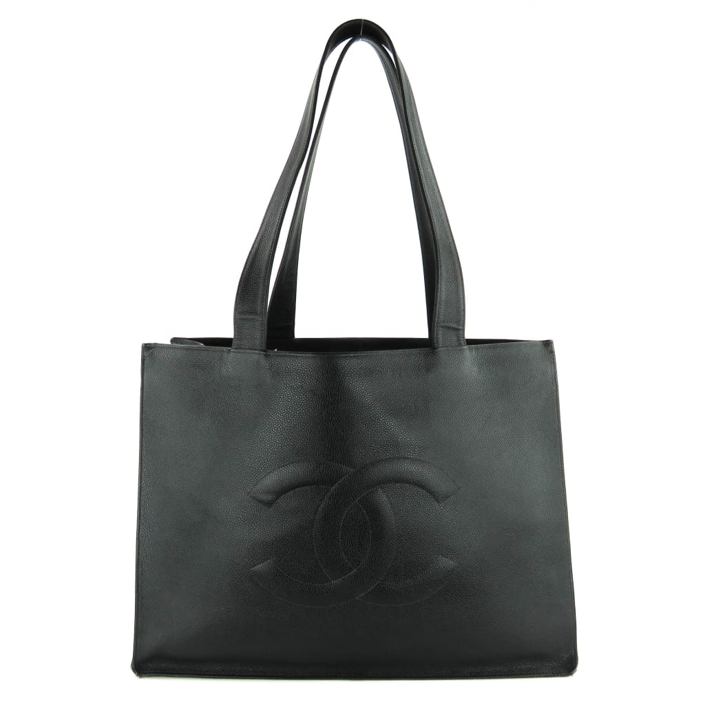 Chanel Black Caviar Leather Vintage Timeless Shopping Tote Bag - Totes