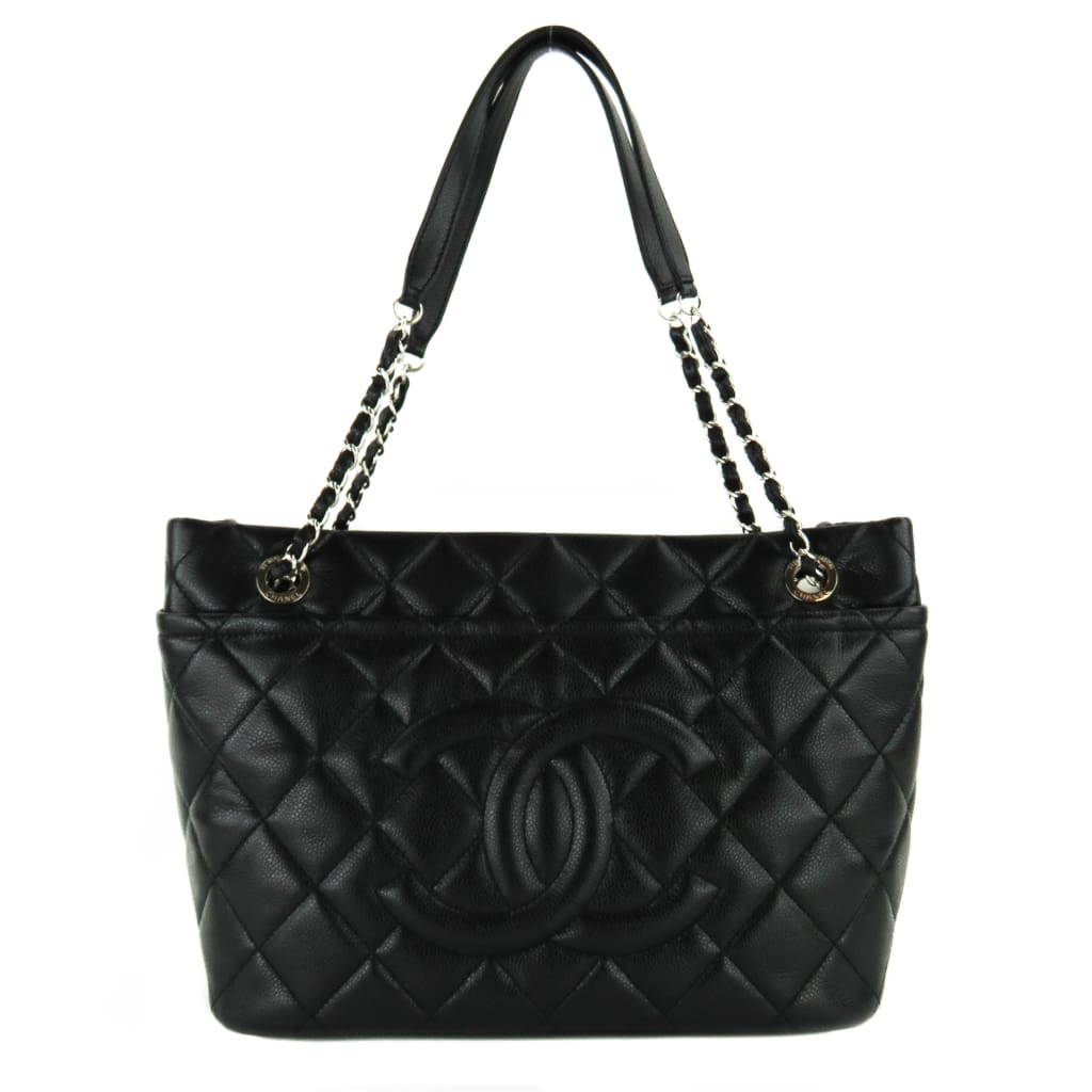 6a8b9abb4daa Chanel Black Caviar Quilted Leather Timeless Soft Shopper Tote Bag -  Shoulder Bags