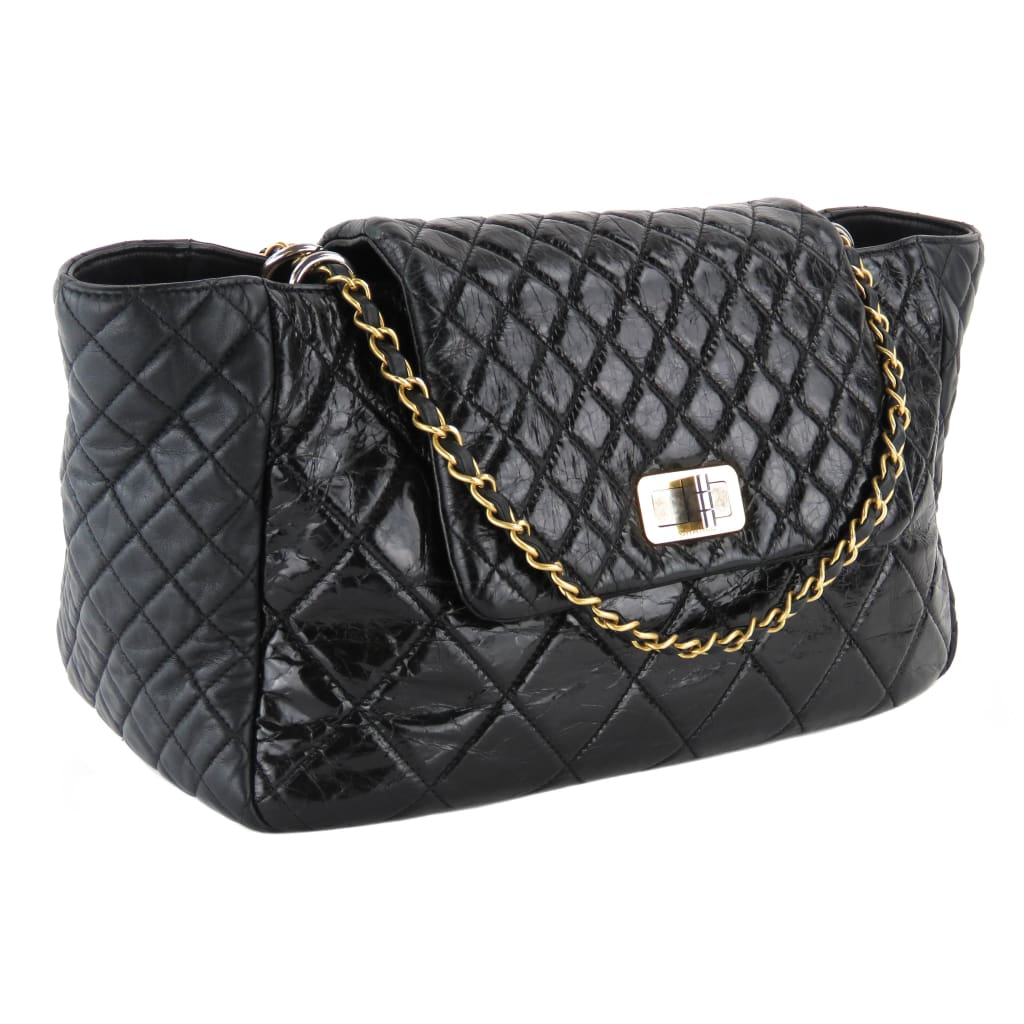 Chanel Black Glazed Crinkle Leather Accordion Mademoiselle Shoulder Bag - Shoulder Bags