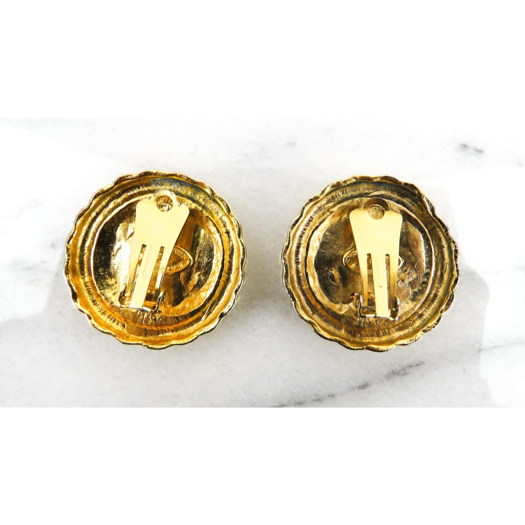 Chanel Black Gold Plated Vintage CC Clip On Button Earrings - Earrings